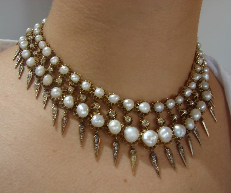Women's Victorian Natural Pearl Diamond Gold Necklace For Sale