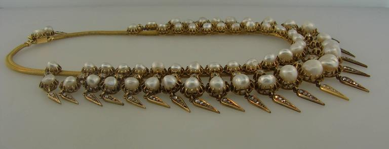 Victorian Natural Pearl Diamond Gold Necklace 9
