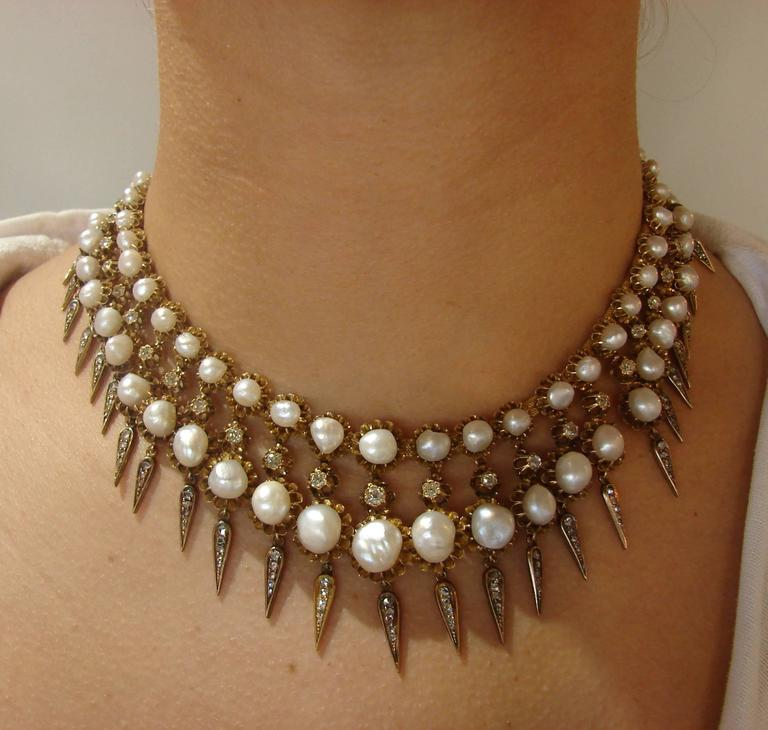 Victorian Natural Pearl Diamond Gold Necklace 3