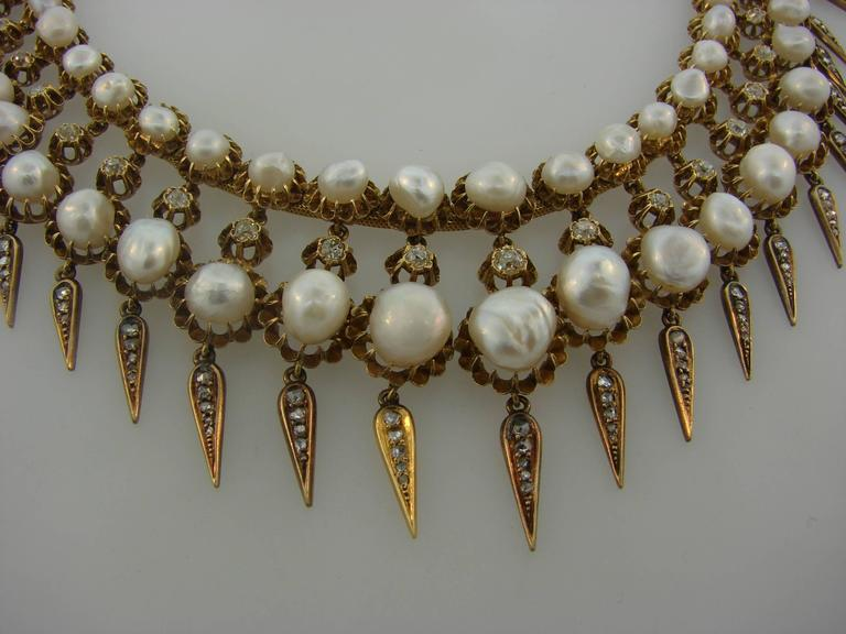 Victorian Natural Pearl Diamond Gold Necklace For Sale 3