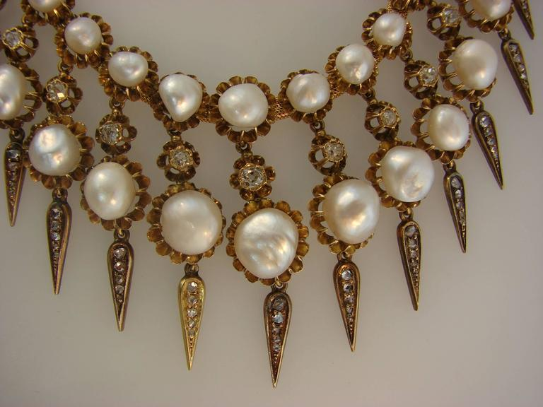 Victorian Natural Pearl Diamond Gold Necklace 8