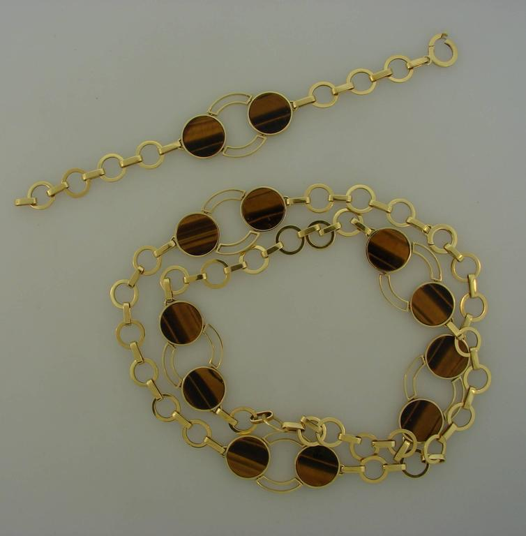 1970s GUCCI Tiger's Eye Gold Necklace Bracelet Set 3