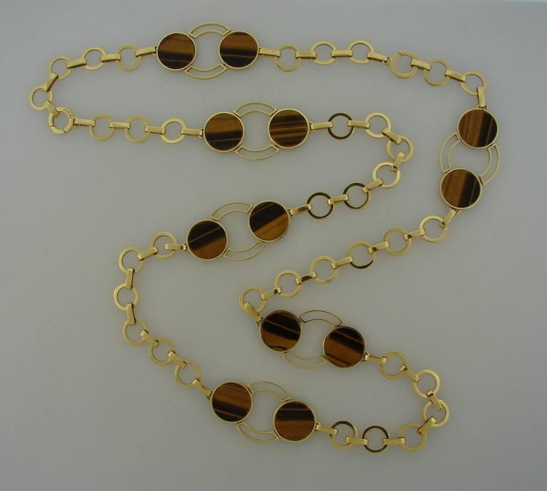 1970s GUCCI Tiger's Eye Gold Necklace Bracelet Set 2