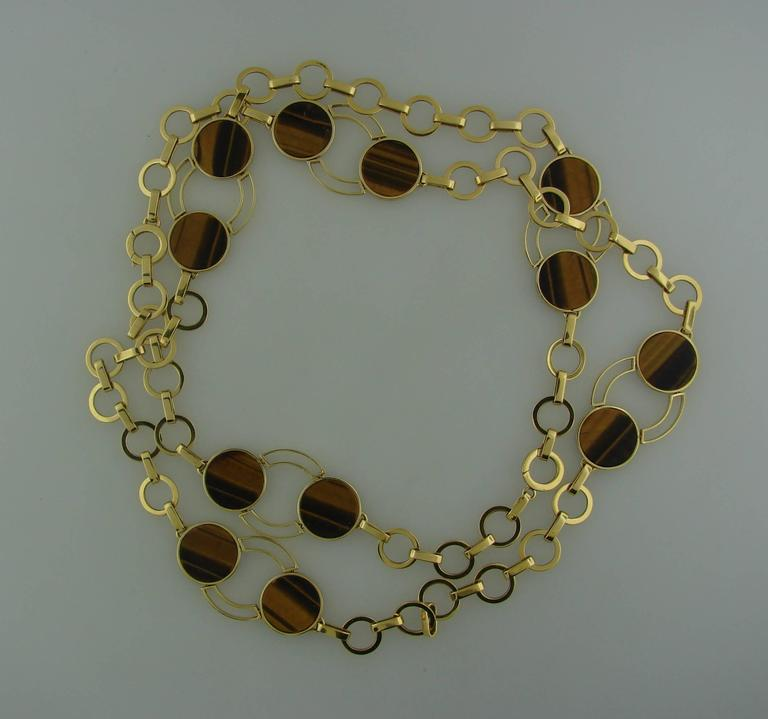 1970s GUCCI Tiger's Eye Gold Necklace Bracelet Set 5
