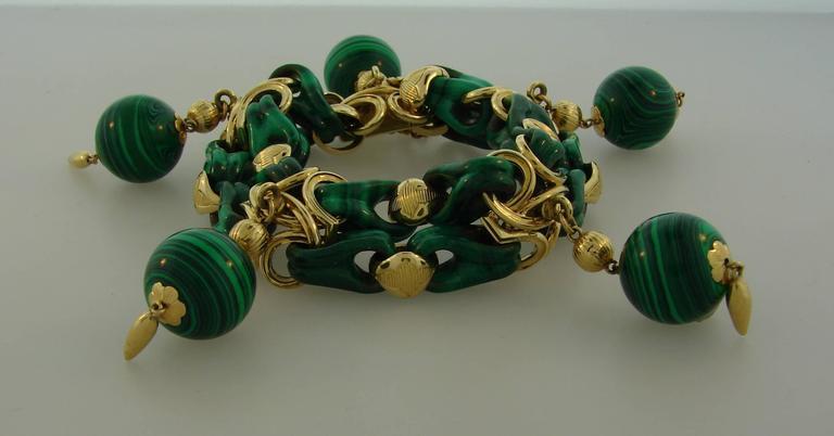 1970s French Malachite Gold Charm Bead Bracelet  4