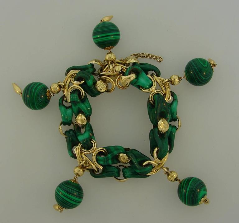 1970s French Malachite Gold Charm Bead Bracelet  2