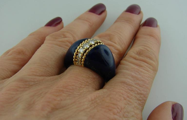1970s Van Cleef & Arpels VCA Lapis Lazuli Diamond Yellow Gold Ring For Sale 2