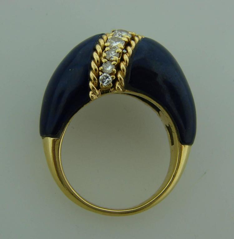 Women's or Men's 1970s Van Cleef & Arpels VCA Lapis Lazuli Diamond Yellow Gold Ring For Sale
