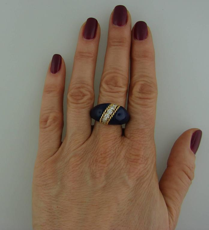 1970s Van Cleef & Arpels VCA Lapis Lazuli Diamond Yellow Gold Ring For Sale 1