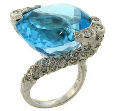 Piaget Blue Topaz Diamond White Gold Ring