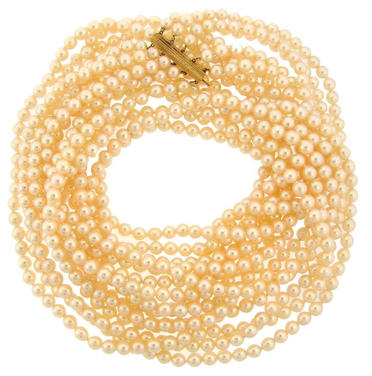 Mikimoto Akoya Pearl Yellow Gold Clasp Multi-Strand Long Necklace
