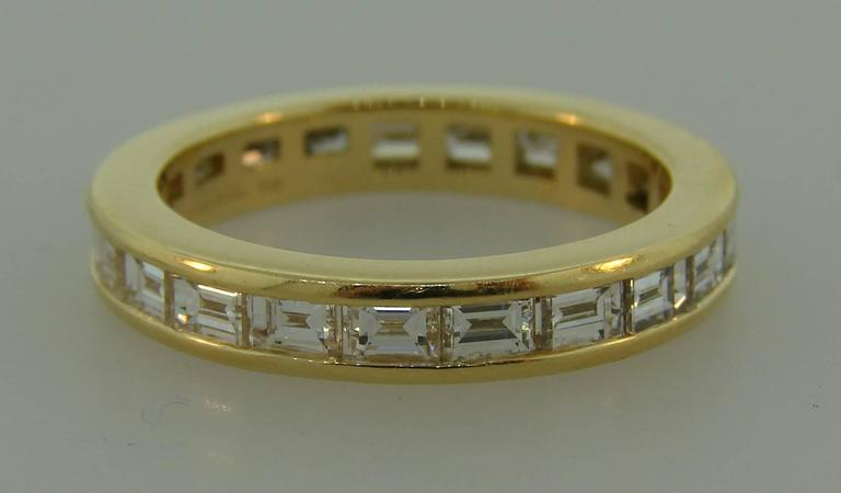 Baguette Cut Tiffany & Co. Diamond Yellow Gold Eternity Band Ring For Sale