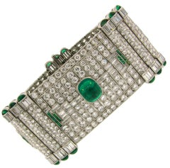 Magnificent Art Deco Colombian AGL Emerald Diamond Platinum Bracelet Levy-Wander