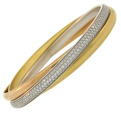 Cartier Diamond Three-Tone Gold Trinity Bangle Bracelet