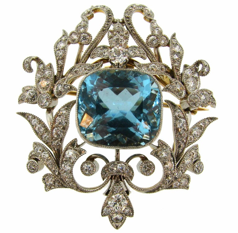 Black, Starr and Frost Aquamarine Diamond Platinum Gold Pendant Pin Brooch