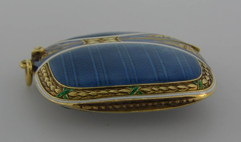 Lacloche Freres Enamel Yellow Gold Pedant with Secret Compartment 4