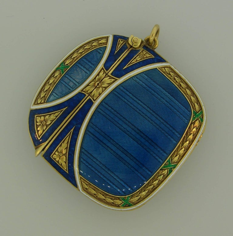 Lacloche Freres Enamel Yellow Gold Pedant with Secret Compartment 3