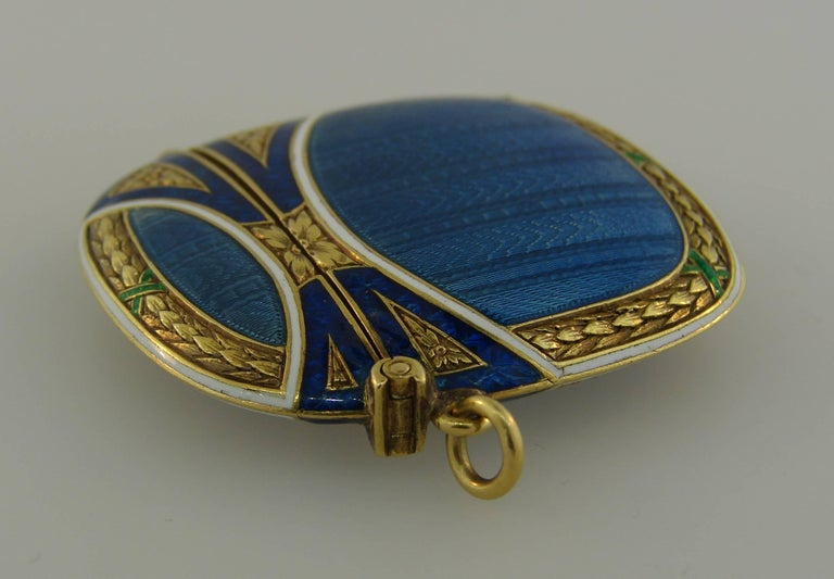 Lacloche Freres Enamel Yellow Gold Pedant with Secret Compartment 5