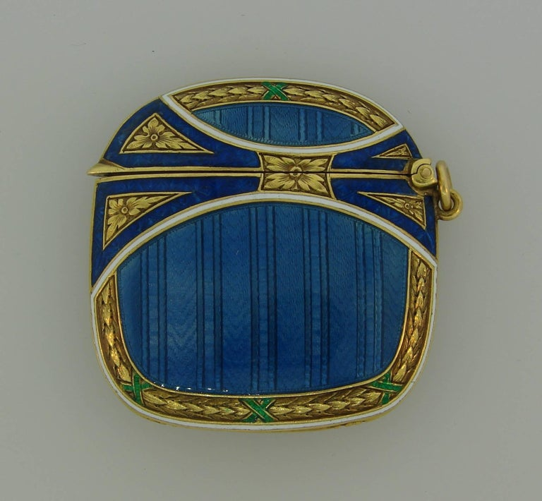 Lacloche Freres Enamel Yellow Gold Pedant with Secret Compartment 2