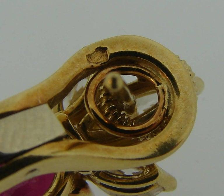 Ruby Diamond Yellow Gold Dangle Earrings For Sale 2