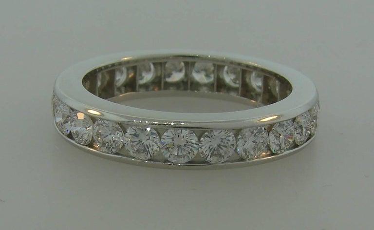 Round Cut Tiffany & Co. Diamond Platinum Eternity Band Ring For Sale
