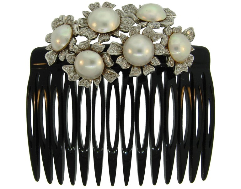 Mobe Pearl Diamond White Gold Bakelite Comb Brush, French