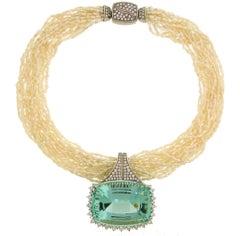 160.70 Carat Brazilian Aquamarine Pendant on Pearl Diamond White Gold Necklace