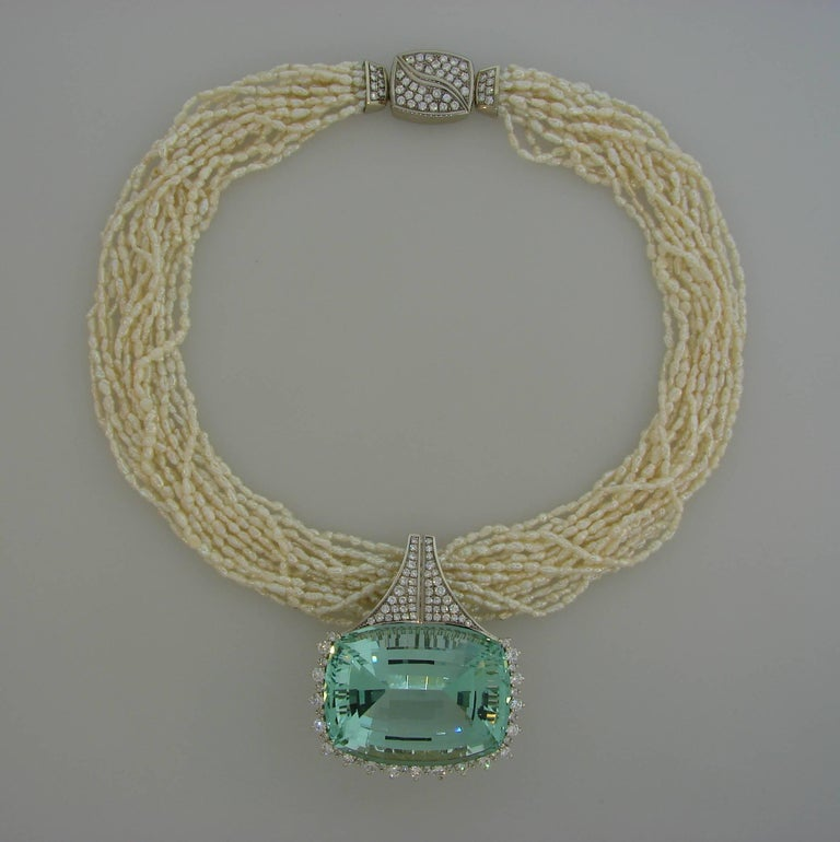 Cushion Cut 160.70 Carat Brazilian Aquamarine Pendant on Pearl Diamond White Gold Necklace For Sale