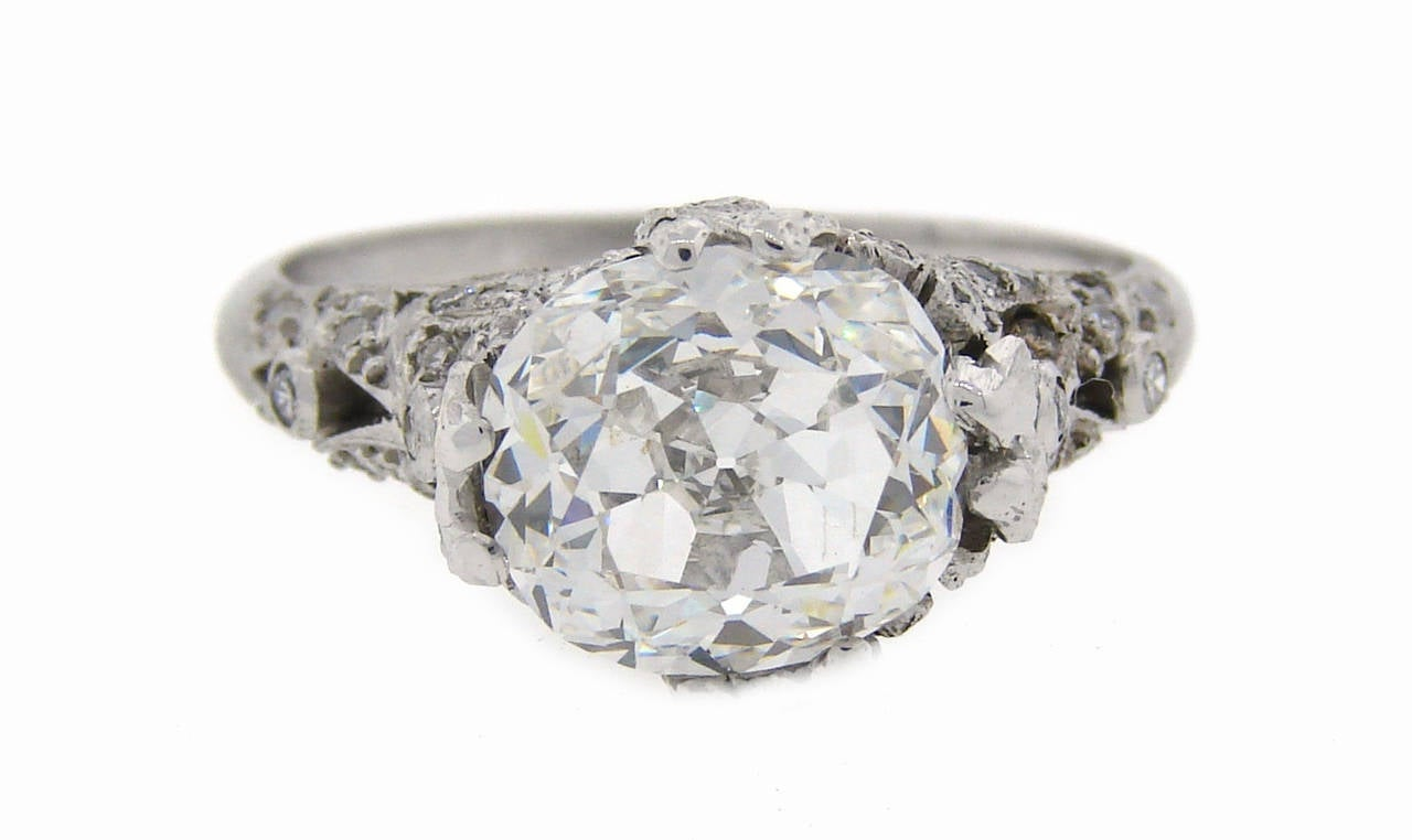 3.02 Carat GIA Cert Cushion Cut Diamond Platinum Engagement Ring circa 1920s For Sale 1