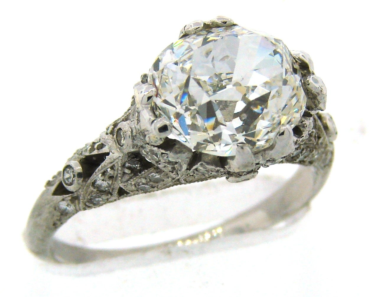 3.02 Carat GIA Cert Cushion Cut Diamond Platinum Engagement Ring circa 1920s 2
