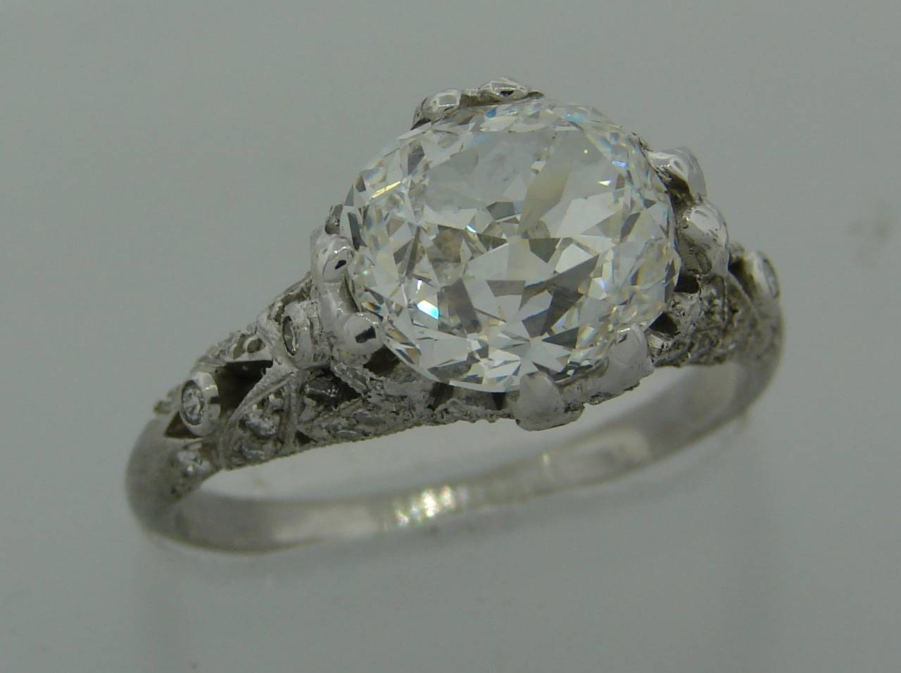 3.02 Carat GIA Cert Cushion Cut Diamond Platinum Engagement Ring circa 1920s In Excellent Condition For Sale In Beverly Hills, CA