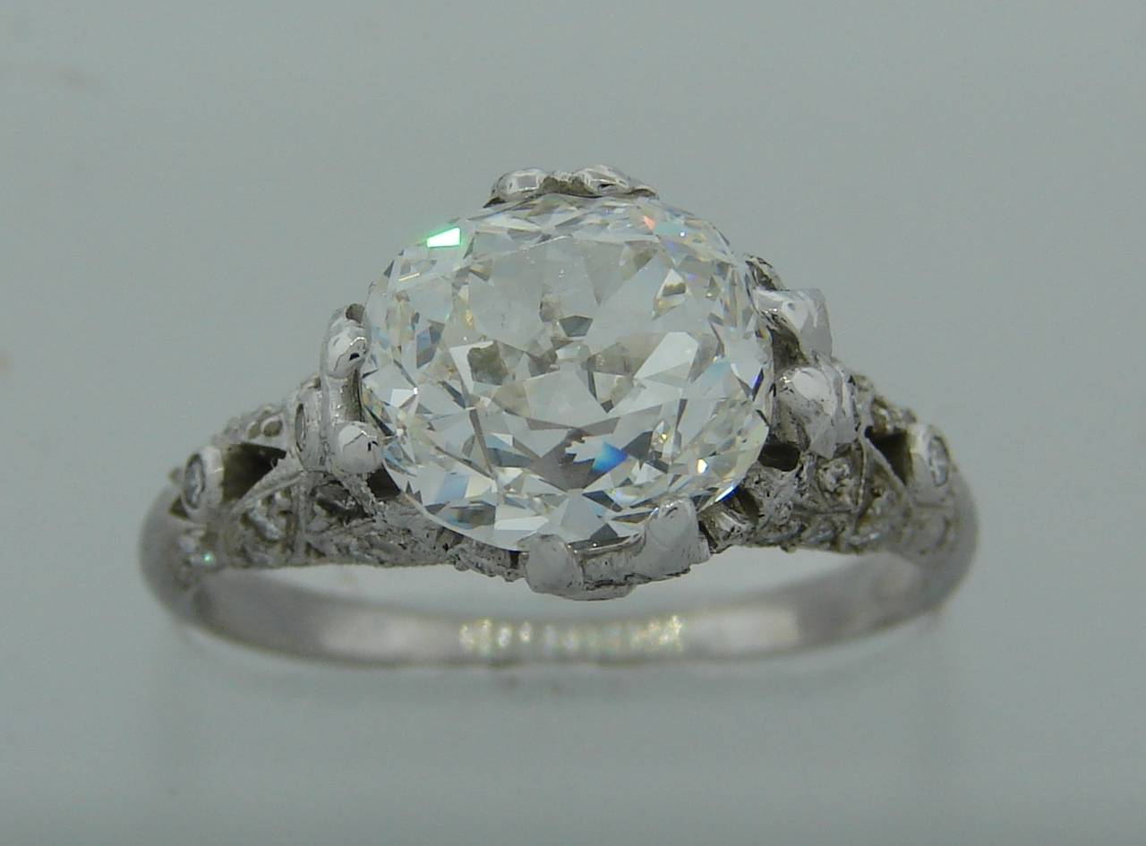 3.02 Carat GIA Cert Cushion Cut Diamond Platinum Engagement Ring circa 1920s 4