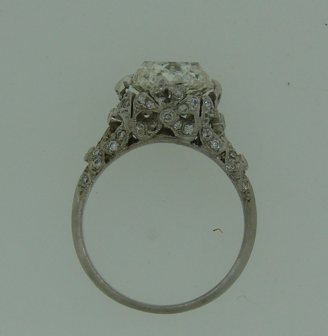 3.02 Carat GIA Cert Cushion Cut Diamond Platinum Engagement Ring circa 1920s For Sale 3
