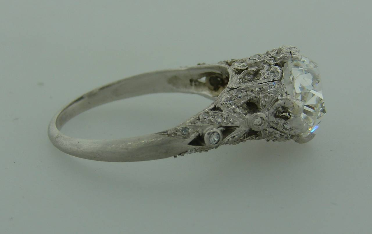 3.02 Carat GIA Cert Cushion Cut Diamond Platinum Engagement Ring circa 1920s For Sale 4