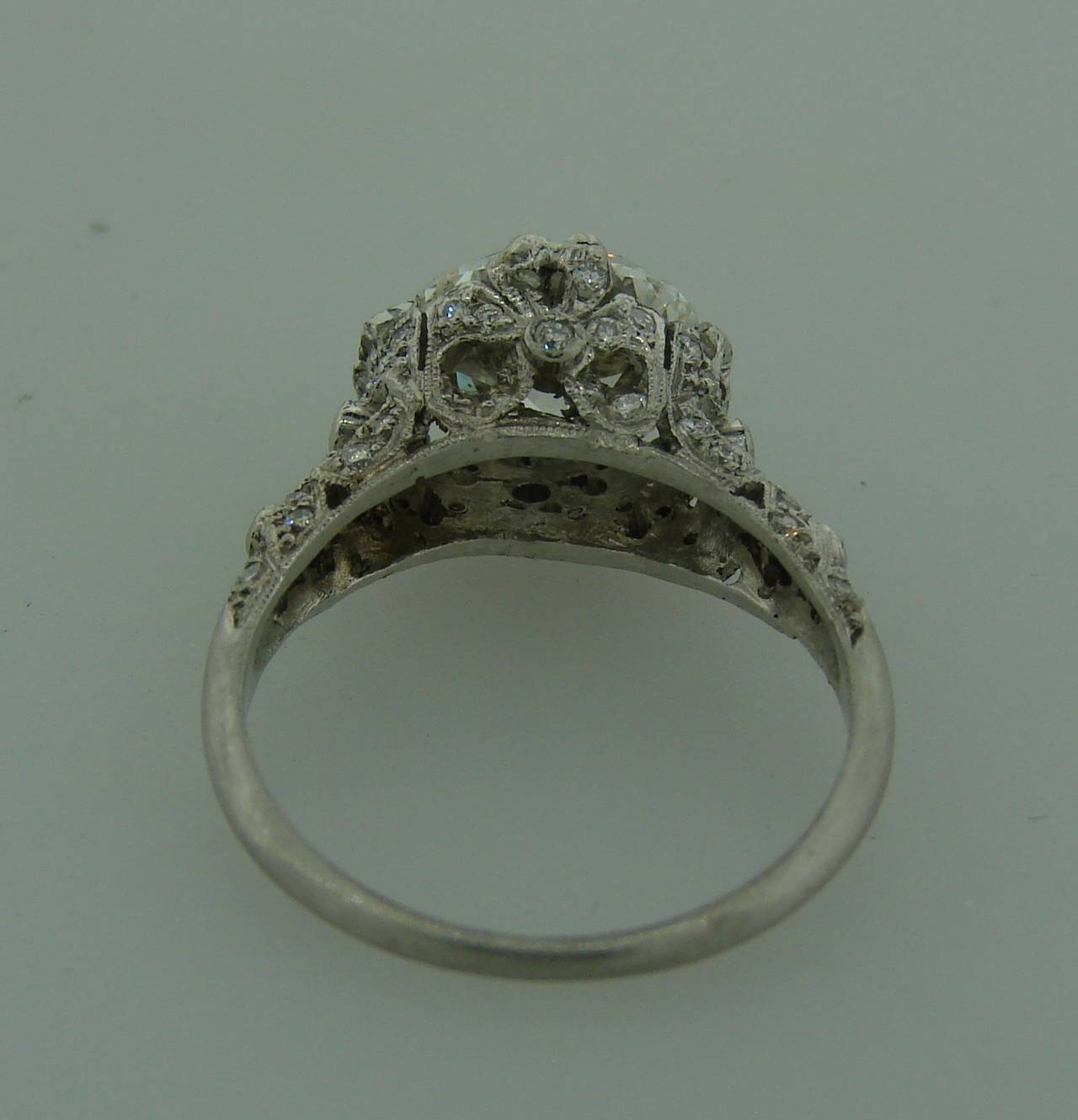 3.02 Carat GIA Cert Cushion Cut Diamond Platinum Engagement Ring circa 1920s For Sale 5