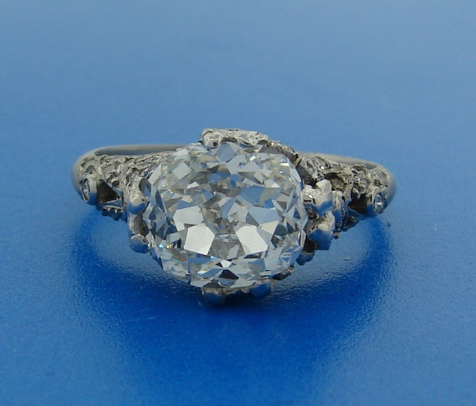 3.02 Carat GIA Cert Cushion Cut Diamond Platinum Engagement Ring circa 1920s For Sale 2