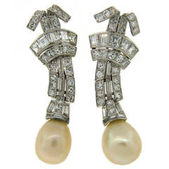 Natural Saltwater Pearl Diamond Platinum Clip-on Earrings
