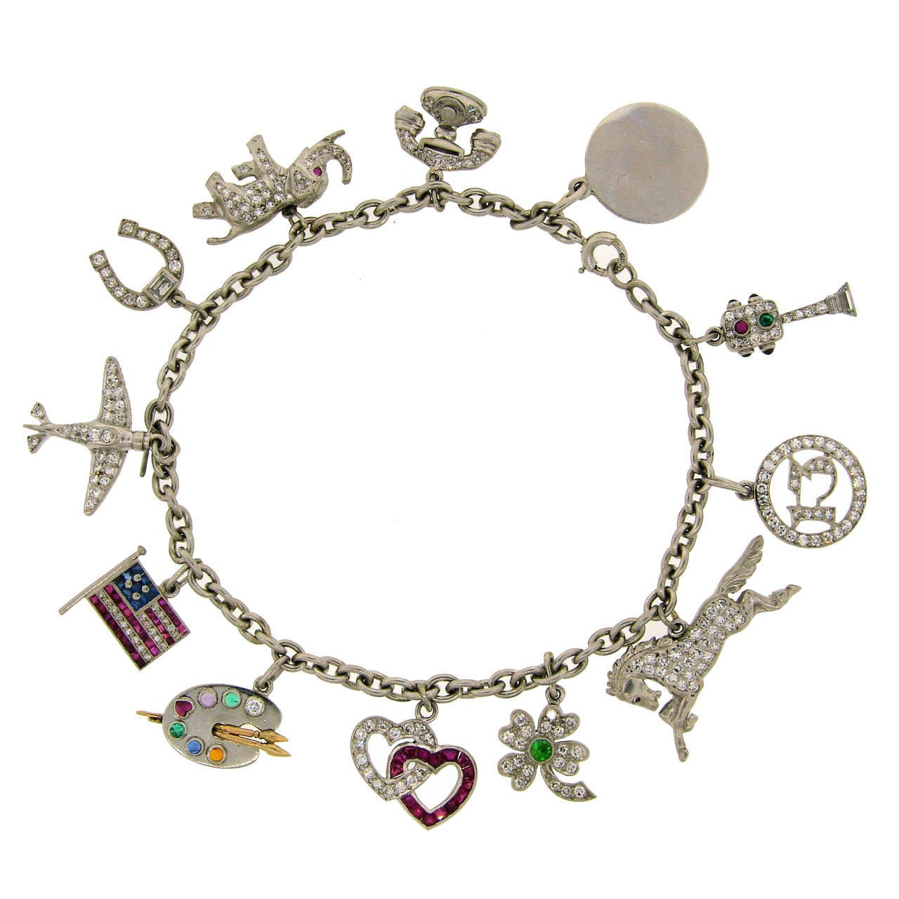 1920s Tiffany Co Art Deco Gems And Platinum Charm Bracelet For