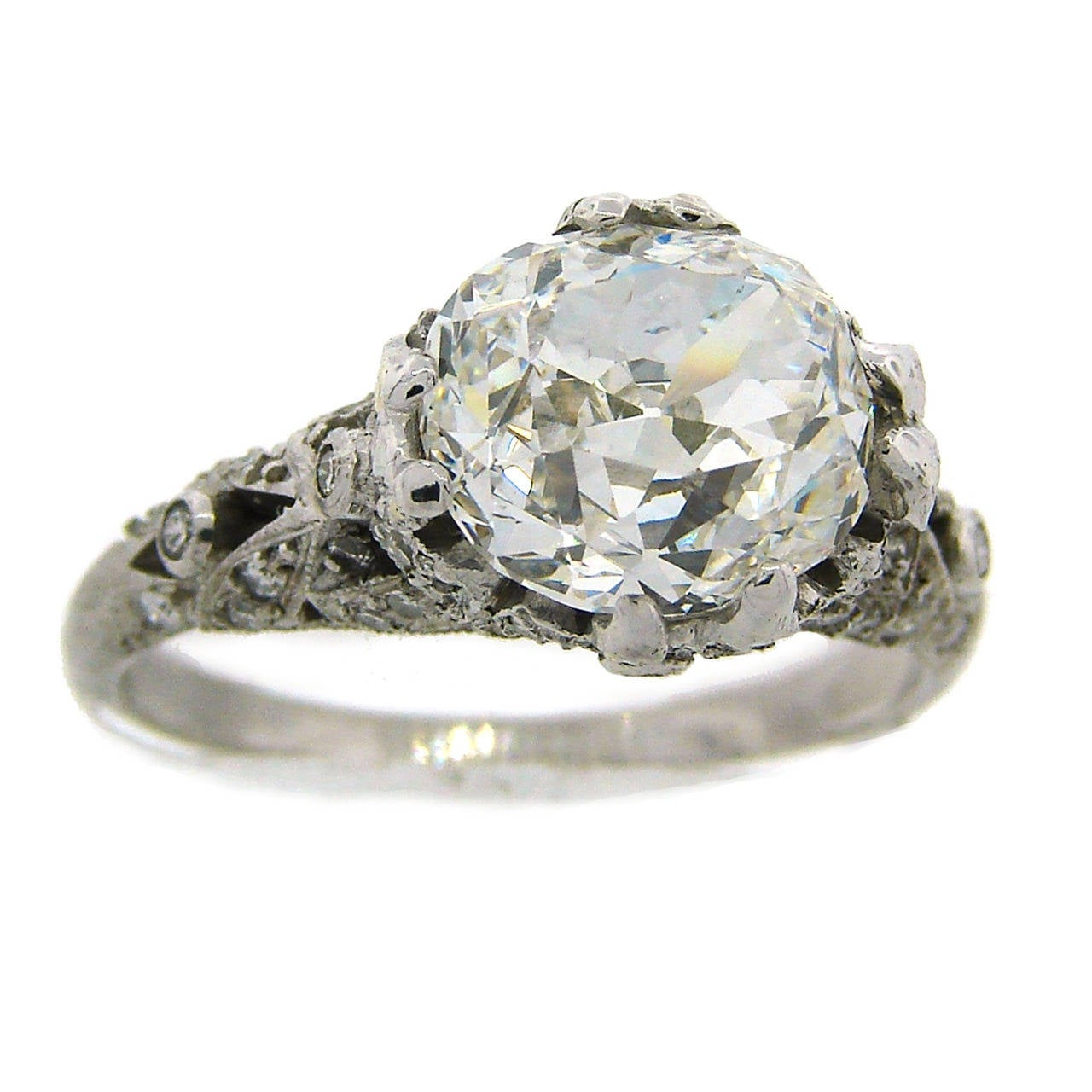 3.02 Carat GIA Cert Cushion Cut Diamond Platinum Engagement Ring circa 1920s For Sale