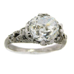 Cushion Cut Diamond Platinum Ring Art Deco circa 1920s 3.02-carat GIA G SI1