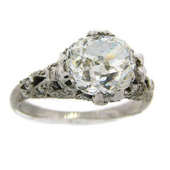 3.02 Carat GIA Cert Cushion Cut Diamond Platinum Engagement Ring circa 1920s