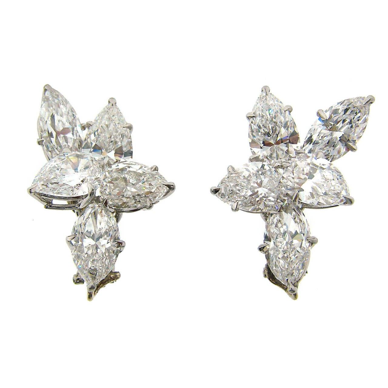 Harry Winston Diamond Platinum Cluster Earrings