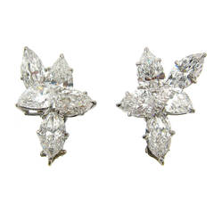 Harry Winston Diamond Platinum Cluster Earrings