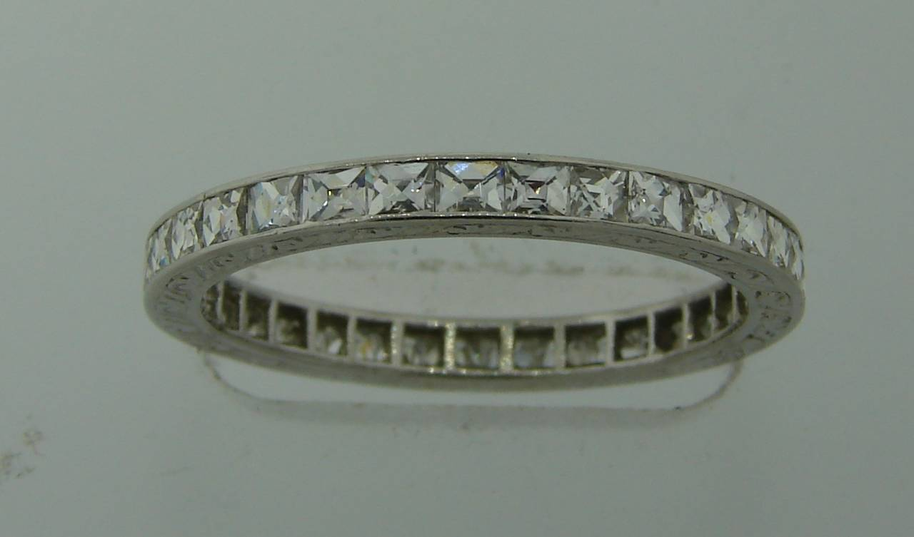Art Deco French Cut Diamond Platinum Eternity Band Ring 2