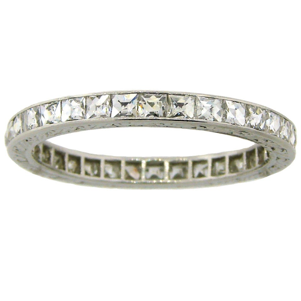 Art Deco French Cut Diamond Platinum Eternity Band Ring 1