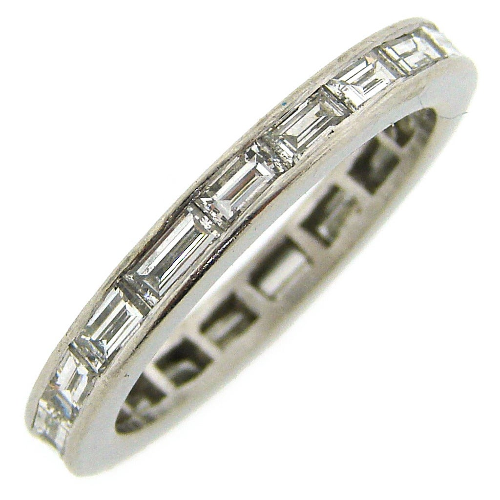 1960s baguette platinum eternity band ring at 1stdibs