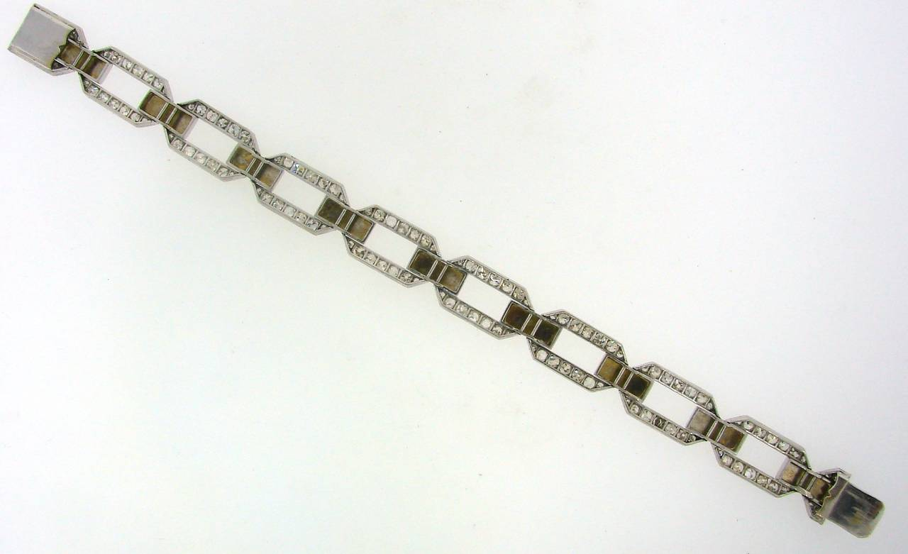 French 1920s Diamond Platinum White Gold Link Bracelet For Sale 3