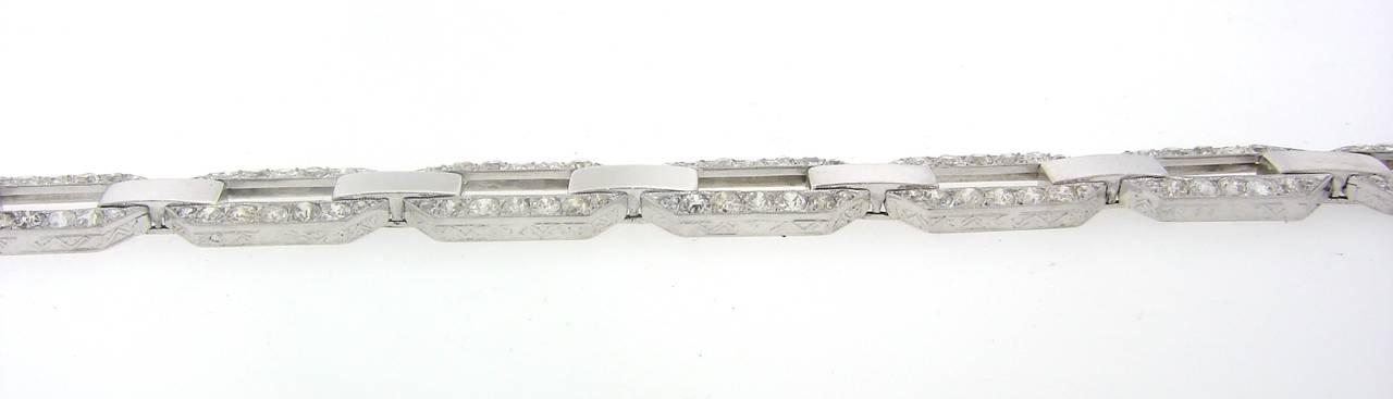 Women's French 1920s Diamond Platinum White Gold Link Bracelet For Sale