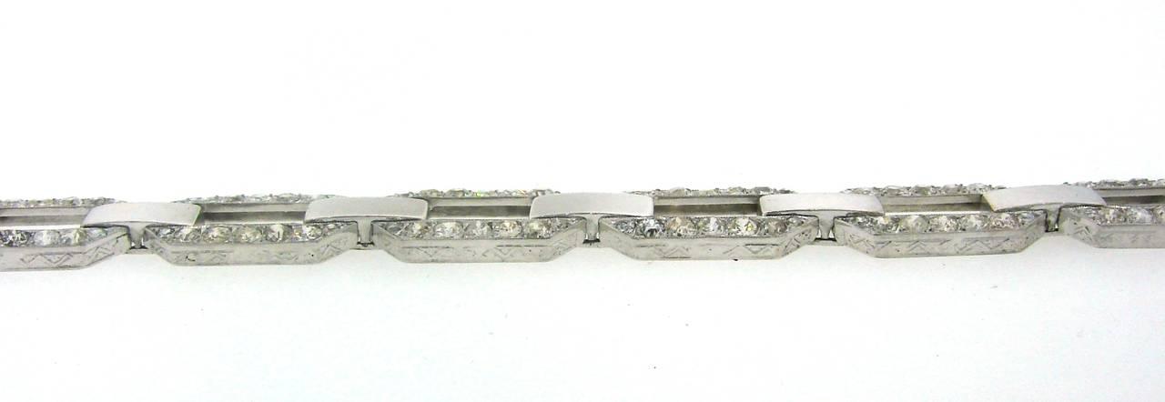 French 1920s Diamond Platinum White Gold Link Bracelet For Sale 1