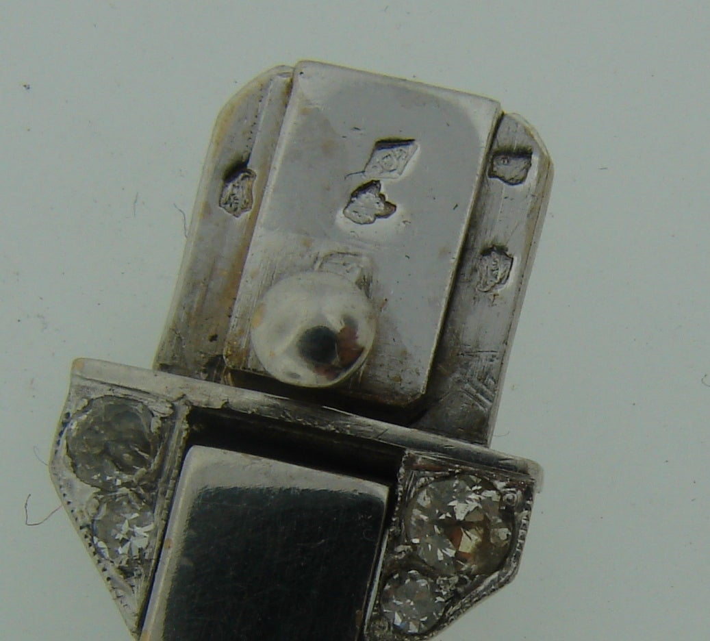 French 1920s Diamond Platinum White Gold Link Bracelet For Sale 5